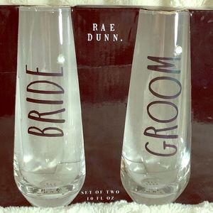 Rae Dunn Bride & Groom Set Stemless Flutes 10 Oz.